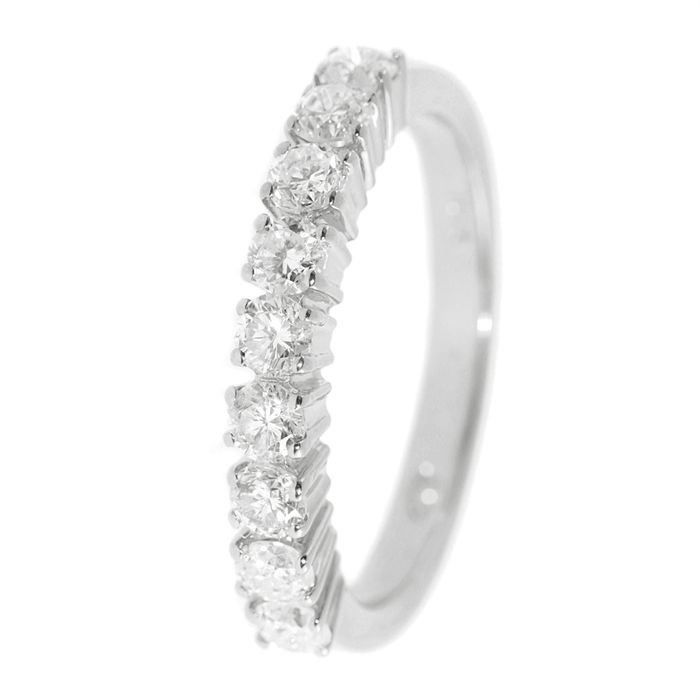 MONTE CARLO STAR - Demi-Alliance en Or Blanc 18 Carats et Diamants Sertis 4 Griffes - Femme