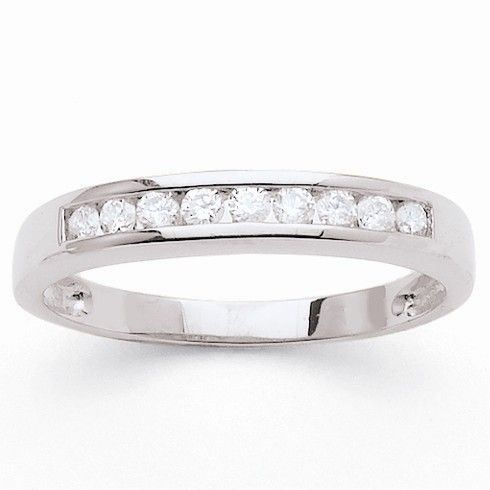 MONTE CARLO STAR - Demi-Alliance en Or Blanc 18 Carats et Diamants Sertis en Rail - Femme
