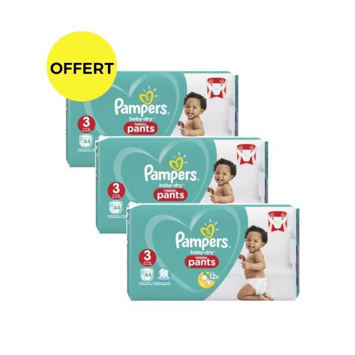 Pampers Baby-Dry Pants Taille 3 - Lot de 3 Géants - 132 couches