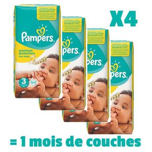 PAMPERS New Baby Taille 3 - 4 ? 9kg - 200 couches - Format pack 1 mois