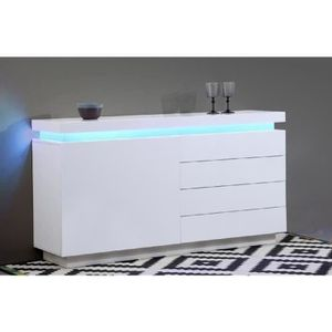 BUFFET - BAHUT  FLASH Buffet bas avec LED contemporain blanc laqué