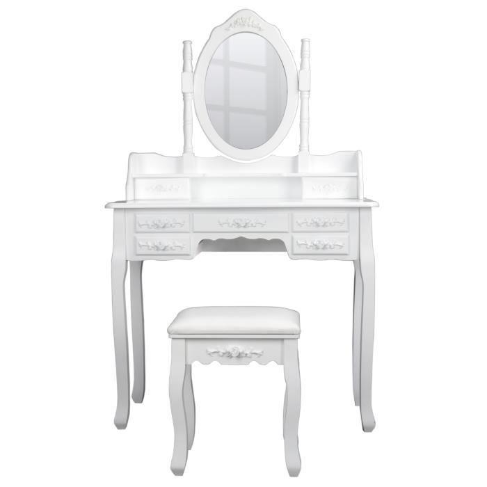 Coiffeuse avec miroir et tabouret achat vente - Coiffeuse avec miroir et tabouret pas cher ...