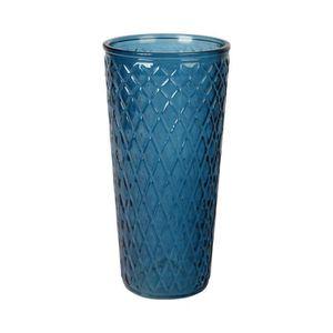 VASE - SOLIFLORE Vase haut en verre relief losange - Ø 15 x H 30 cm