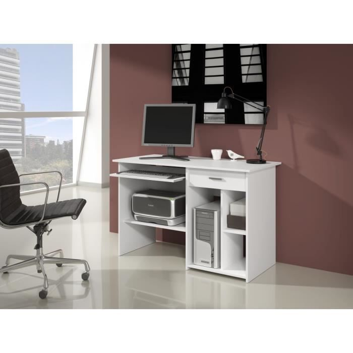sven bureau informatique contemporain blanc l 123 cm. Black Bedroom Furniture Sets. Home Design Ideas