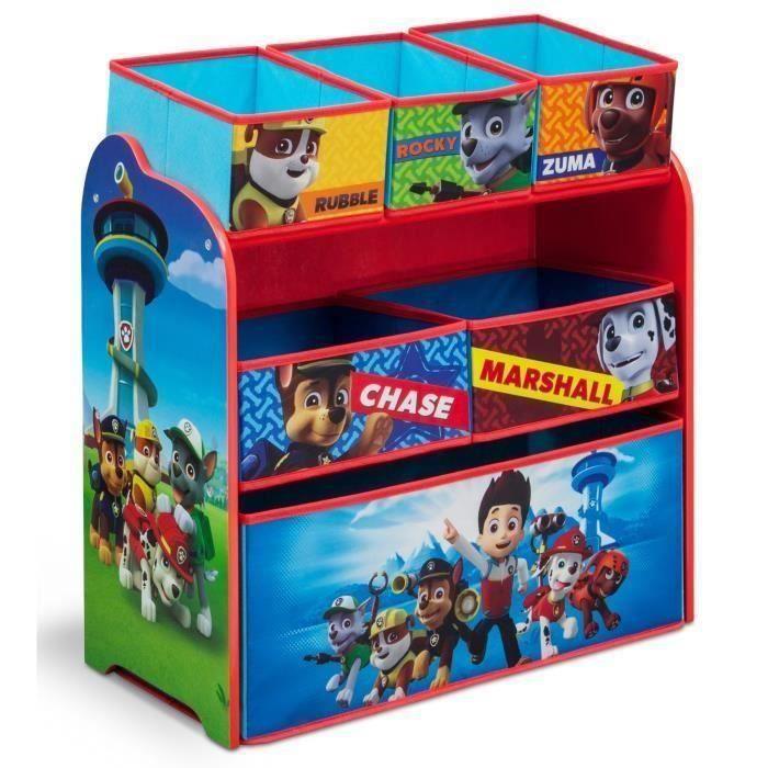 pat patrouille meuble enfant en bois avec 6 rangements rouge et multicolore achat vente. Black Bedroom Furniture Sets. Home Design Ideas