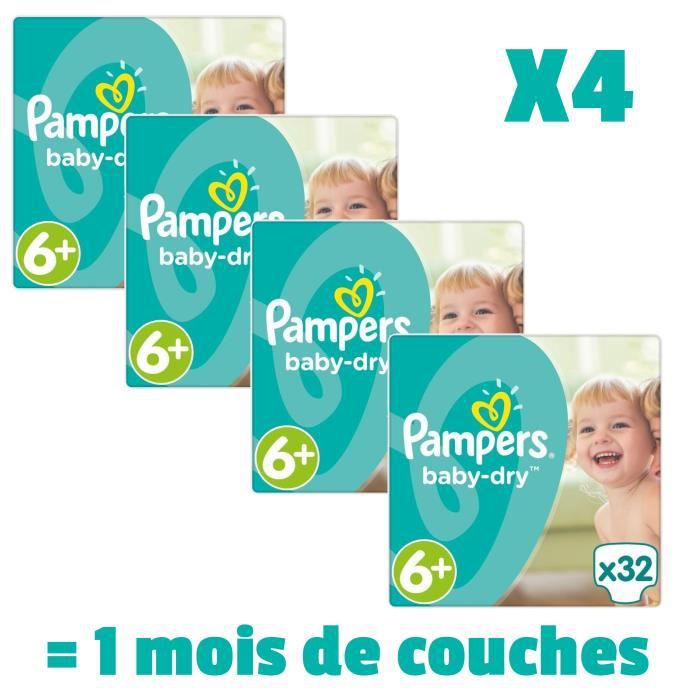 COUCHE PAMPERS BABY DRY Taille 6+ - 128 couches - Pack 1
