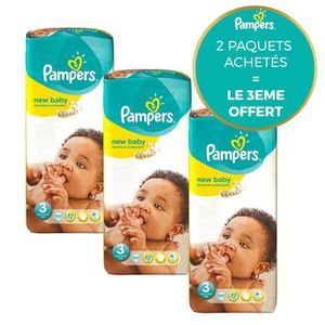 COUCHE Pampers New Baby Taille 3 - Lot de 3 Géants - 150