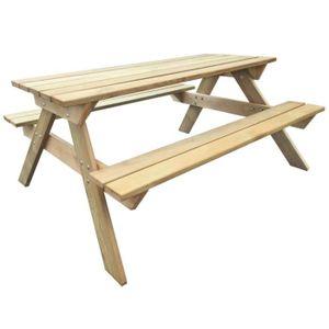 SALON DE JARDIN  Table de pique-nique en bois 150 x 135 x 71,5 cm