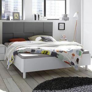 STRUCTURE DE LIT Lit 160 cm blanc et gris laqué TIAVANO Gris L 183