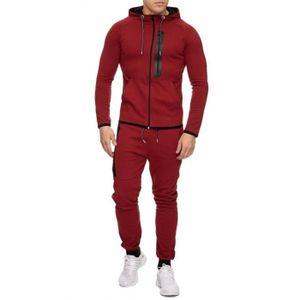 SURVÊTEMENT Ensemble jogging veste rouge zip noir