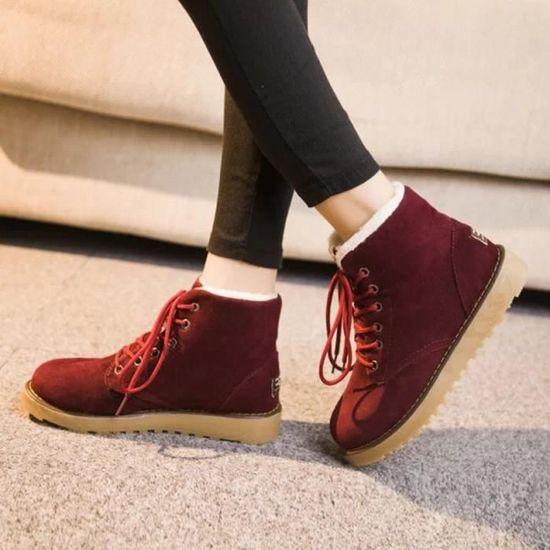 Femmes hiver chaud avec velours plat avec lacets bottes de neige chaussures de cheville@Red  Red - Achat / Vente botte