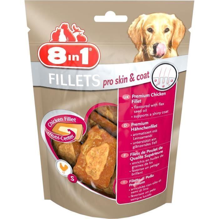 8in1 Filets de poulet séchés Pro Skin&Coat enrichis en huile de graine de lin - Taille S - Pour Chien