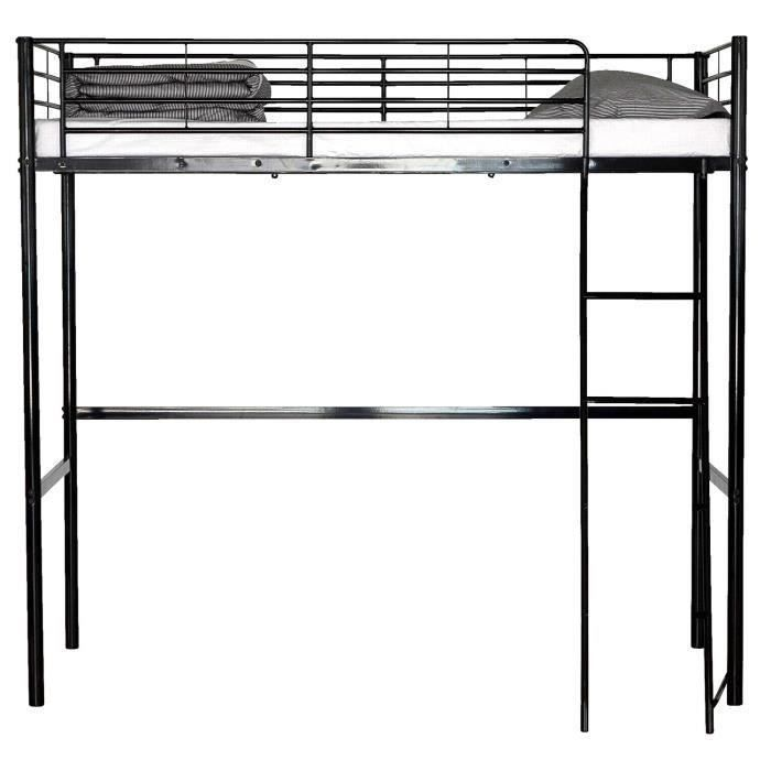 lit mezzanine noir moins cher milprix. Black Bedroom Furniture Sets. Home Design Ideas
