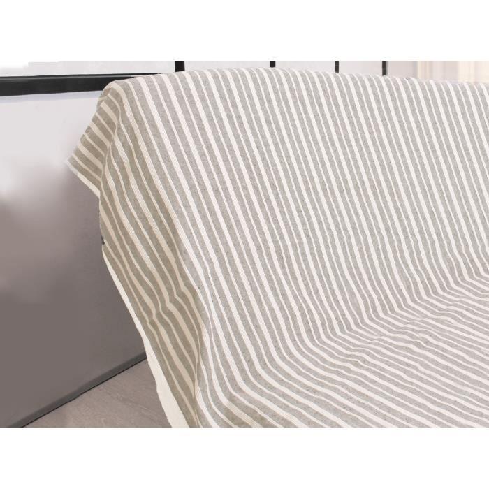 SOLEIL D'OCRE Jeté de canapé cotonnade - 170x250 cm - EcruJETEE DE LIT - BOUTIS - COUVRE-LIT