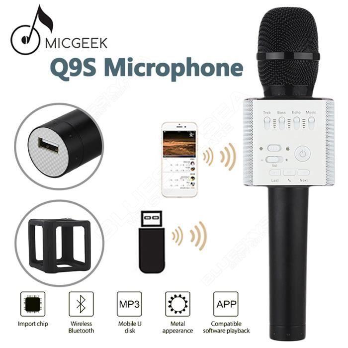 microgeek q9s microphone sans fil bluetooth ktv karaok. Black Bedroom Furniture Sets. Home Design Ideas