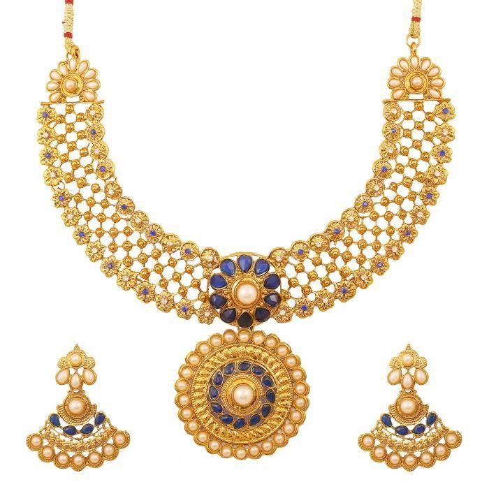 Plaqué or indien Bollyod rouge Faux Rubies Perles Faux Collier de bijoux de mariée de femmes pourONPJ9