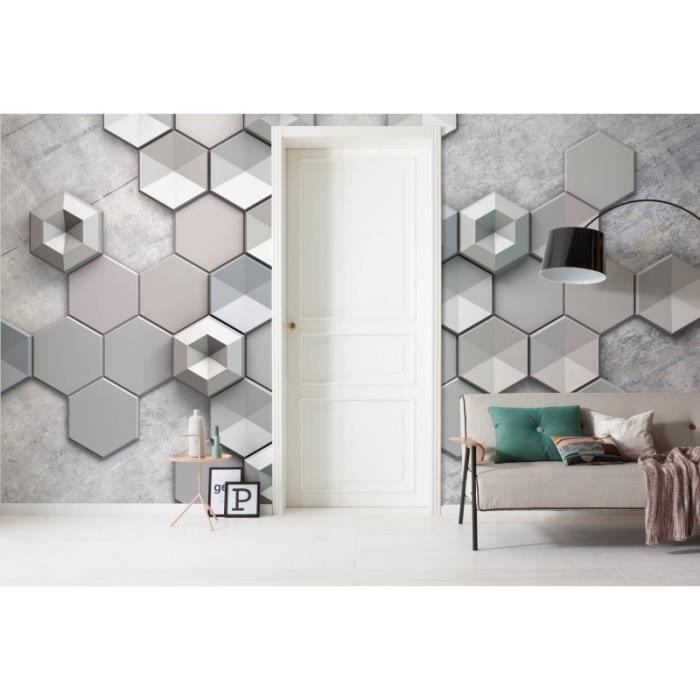 Papier Peint Hexagon Concrete - Achat / Vente papier peint Papier ...