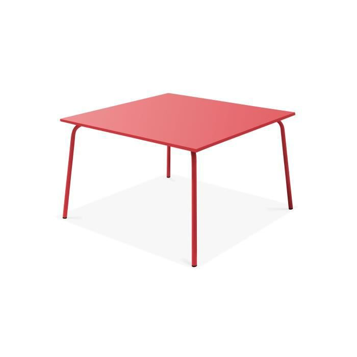 Table de jardin carrée en métal Rouge