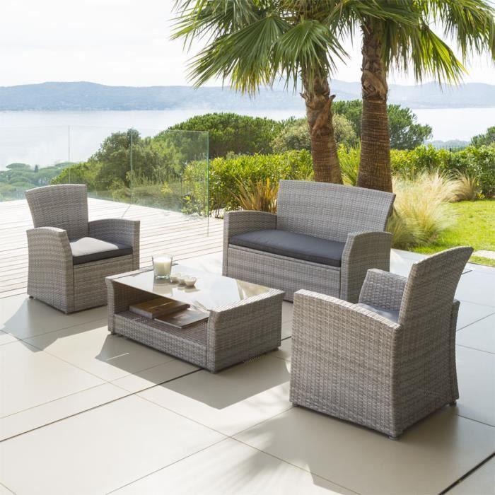 Salon de jardin Bora Bora Gris clair - 4 places - Achat / Vente ...