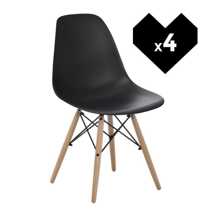 CHAISE Lot De 4 Chaises Design Scandinave Noir Bois Natur