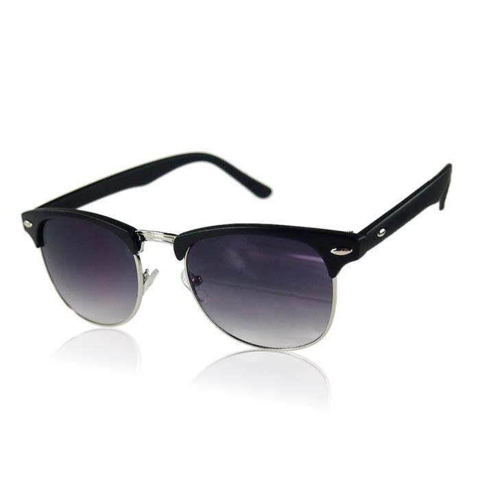 Demi-trame demi-contour UV400 lunettes de soleil surdimensionnées Rétro classique Métal unisexe noir mat
