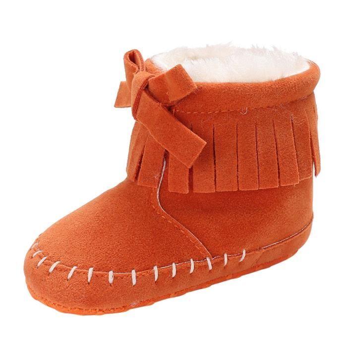 BOTTE Bébé fille chaussures à semelle souple bottes de neige bébé nourrisson nouveau-né chaussures de réchauffement@OrangeHM