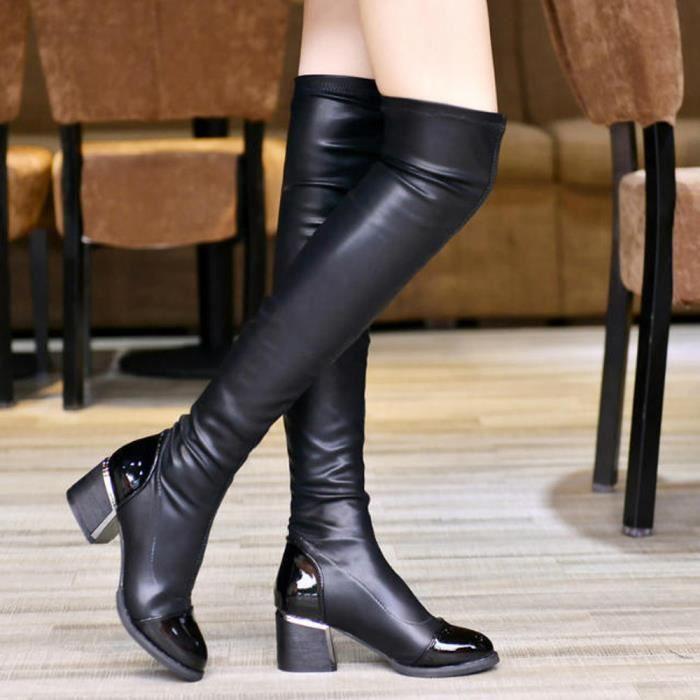 Cuir de mode sur Cuissardes Femmes Toe élastique extensible Bottes à talon  épais Noir