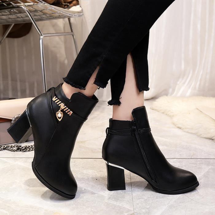 Bottes de haute-talons Martin épais avec bottes d'hiver femmes Zipper bottes Martin XXL70912495