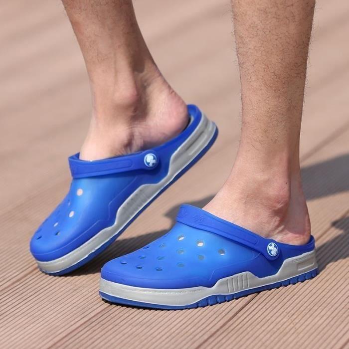 Nouveau design Hommes Mesh Sandales Respirant été talon plat Sandales hommes plage Tongs Chaussons,gris et bleu,41