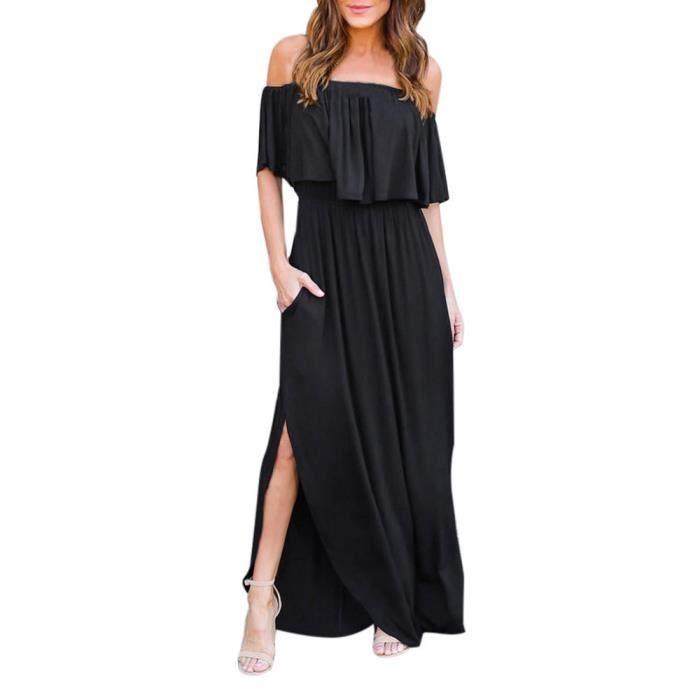 Womens Off Lépaule Boho Robe Lady Beach Summer Sundrss Maxi Dress @LNP80315361