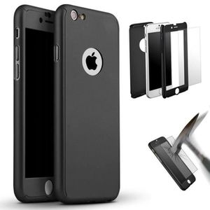 HOUSSE - ÉTUI Coque intégrale iPhone 6/6S Noir + Verre trempé