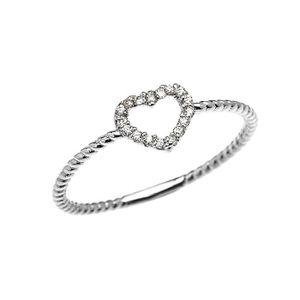 BAGUE - ANNEAU Bague Femme 14 Ct Or Blanc Cœur Diamant Conception
