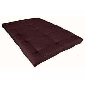 FUTON Matelas futon chocolat en coton 90x190