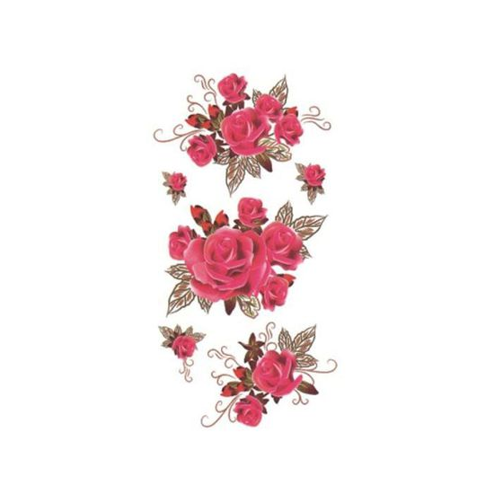 P 035 Tatouage Temporaire éphémère Réaliste Fleur Rose Dessin