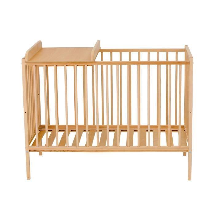 TINEO Lit bébé à Barreaux 60x120 cm et plan à langer vernis Naturel
