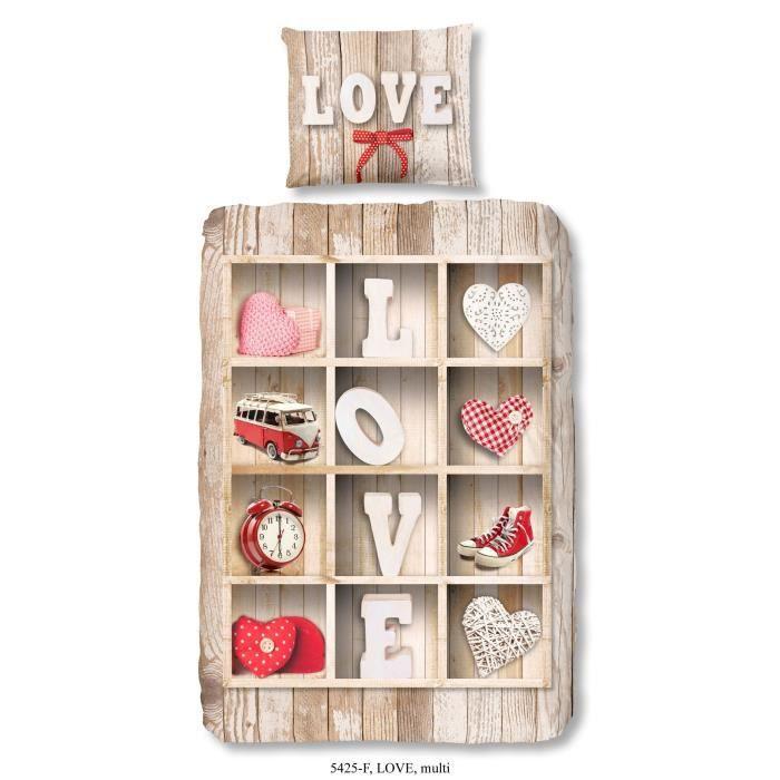 GOOD MORNING  Parure de couette Love style scandinave - 1 housse de couette 140x200 cm + 1 taie 60x7