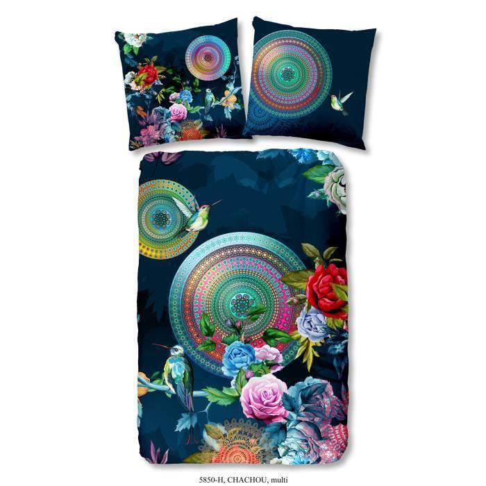 Matière : 100% Satin de coton - Dimensions : 140x200 / 60x70cm - MulticolorePARURE DE COUETTE
