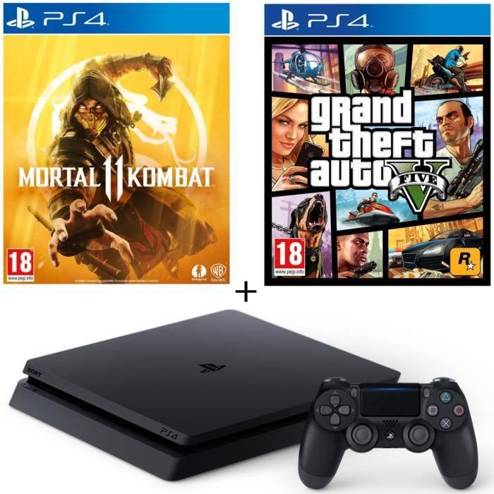 CONSOLE PS4 NOUVEAUTÉ Pack PS4 500 Go Noire + 2 Jeux : Mortal Kombat 11