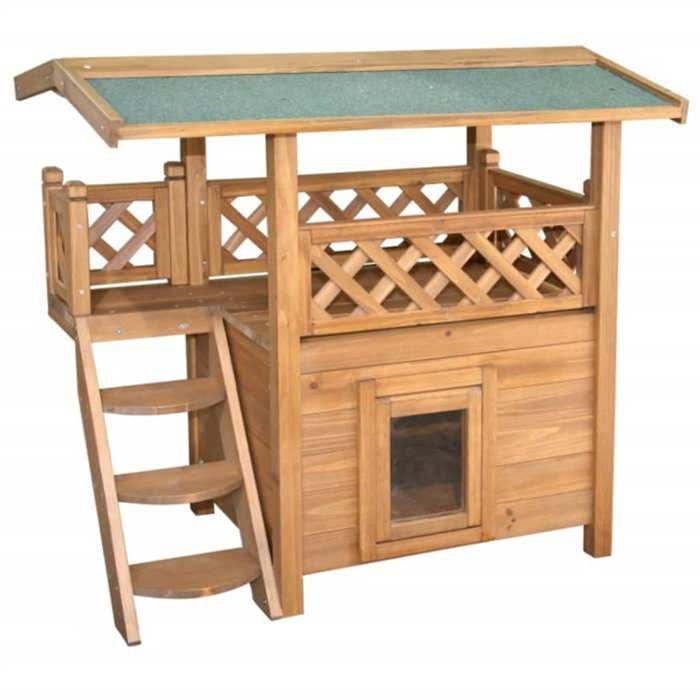 maisonnette chat lodge 77x50x73cm achat vente. Black Bedroom Furniture Sets. Home Design Ideas