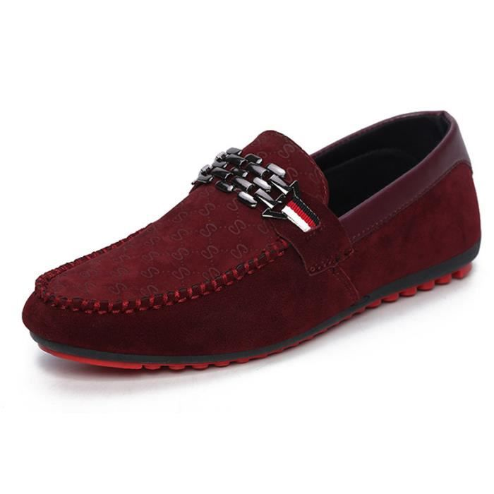 mocassins homme cuir chaussures bateau rouge rouge rouge achat vente mocassin cdiscount. Black Bedroom Furniture Sets. Home Design Ideas