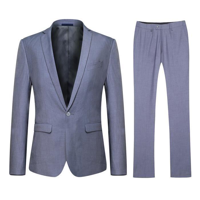 costume homme d contract et formelle mince ves gris clair 1 bouton achat vente costume. Black Bedroom Furniture Sets. Home Design Ideas