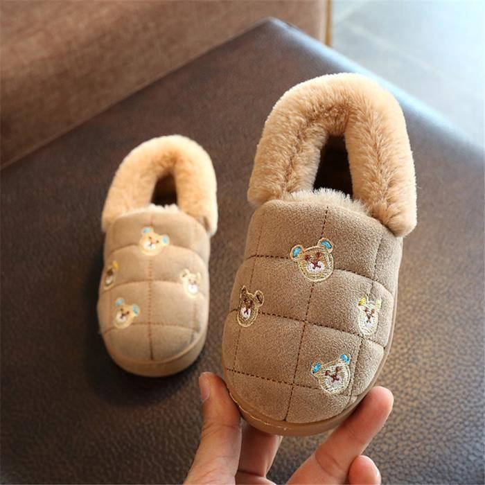 Ours Chausson Mignon Meilleure Qualité Hiver Chaussons Plus De Cachemire Doux Beau Enfant Coton Chaussure Confortable Léger 14-19
