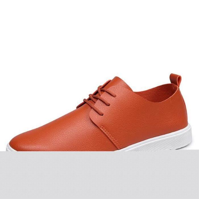 Chaussures Hommes Cuir Printemps Ete Haute Qualité Plat Chaussures BLLT-XZ080Rouge39 xg6eo6Ml