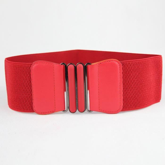 dedasing® Large femme de mode Vintage élastique extensible Boucle ceinture  ceinture rouge f4c24cf24e9