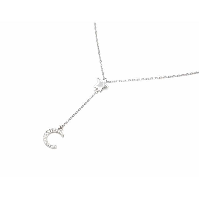 CC2028E - Collier Fine Chaîne Argent 925 avec Pendentif Y Etoile et Lune Strass