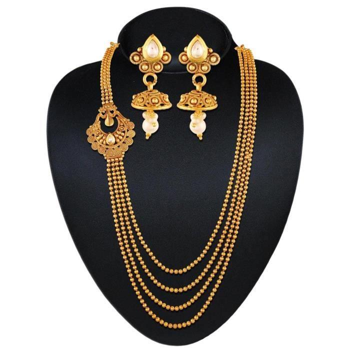 Ball Chain traditionnelle des femmes multibrins Lune collier pourC6CYZ