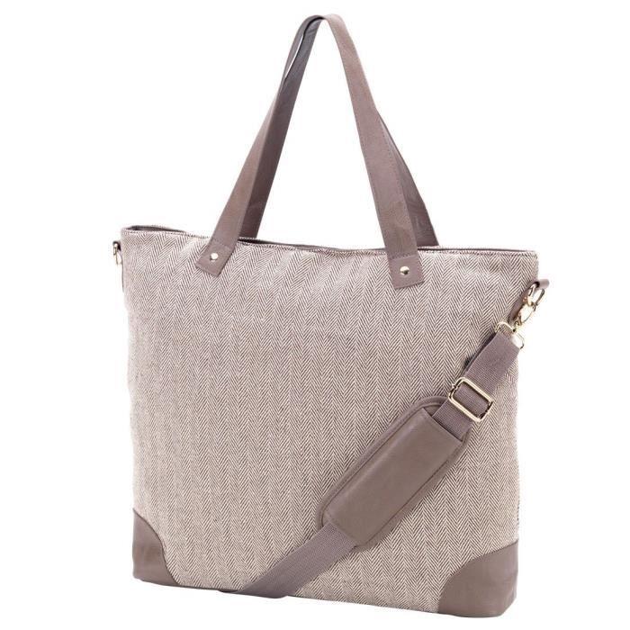 Épaule sac fourre-tout Herringbone Faux Garniture de cuir peut être personnalisé FRB2F