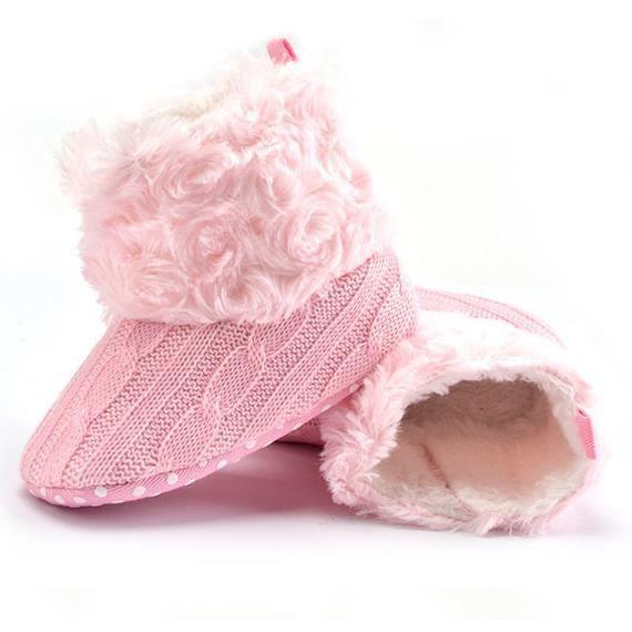 2017 Bébé garder chaud chaussures de bébé hiver tendance loisir Fond mou botte de neige-Rose tqbd5