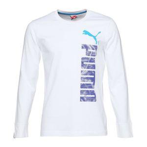 PUMA T-shirt Logo Graphic Manches longues - Homme - Blanc