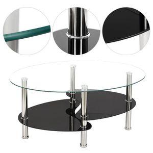Table Basse de Salon en Verre trempé Tablette pour Café ou Thé - Noir